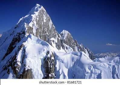 Mt Huntington in the Alaska range near Mt McKinley