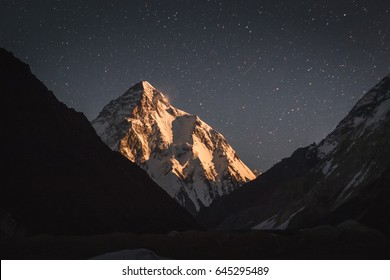Mt. K2 at Moonrise from Concordia, Pakistan