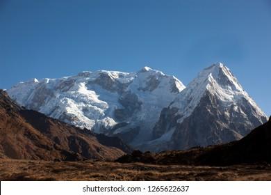 Mt. Kanchenjunga and Kabru peaks view from Sinelapcha Pass in Nepal.