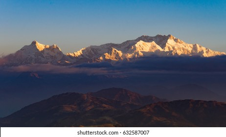 Mt. Kanchenjunga at sunrise viewed from Sandakphu, Darjeeling, India