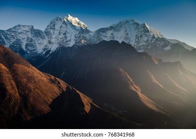 Mt. Kangtega and Mt.Thamserku at sunset,Himalaya