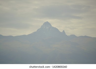 Mt Kenya peaks in misty morning