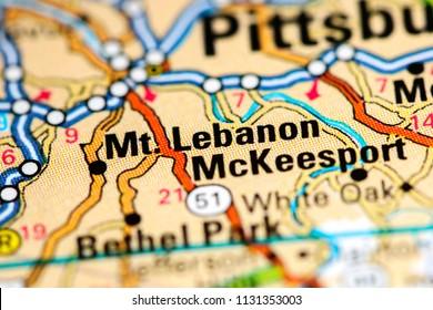Mt. Lebanon. Pennsylvania. USA on a map