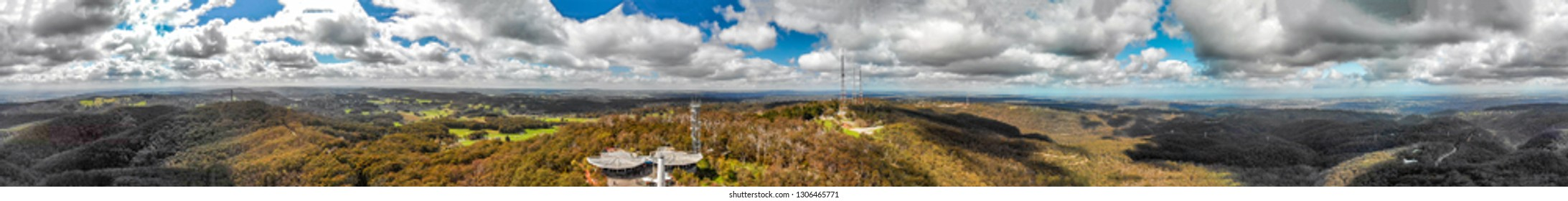Mt Lofty panoramic aerial view, Adelaide, Australia.