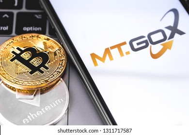 MT.GOX logo of exchange on the screen smartphone. MT.GOX is popular largest cryptocurrency exchange on the market. Moscow, Russia - February 13, 2019