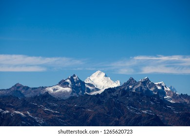 Mt. Makalu view from Mirgin La pass in Kanchenjunga region of Nepal.