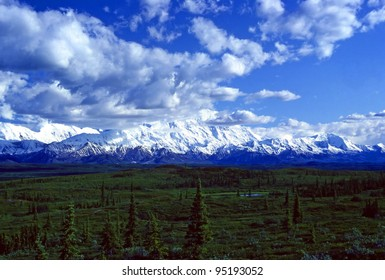 Mt Mckinley Breaking through afternoon clouds in Denali National park