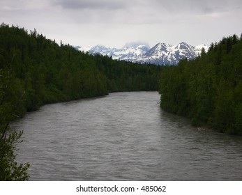 Mt. McKinley and River in alaska
