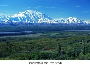 Mt McKinley viewed near Wonder Lake on a clear day