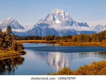 Mt. Moran at Oxbow band in Grand Tetons National Park and reflection in the river