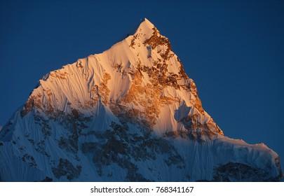 Mt Nuptse at sunset,Himalayas,Nepal