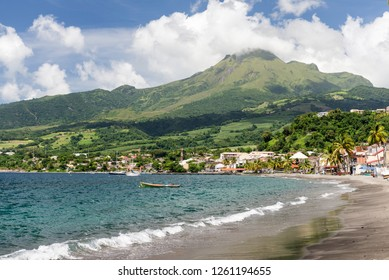 Mt. Pelee, active volcanic mountain and Saint Pierre in Martinique, Caribbean Sea