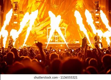 Mt. Pleasant, MI / USA - July 12, 2018: Disturbed performs at Soaring Eagle Casino in Mt. Pleasant, Michigan.
