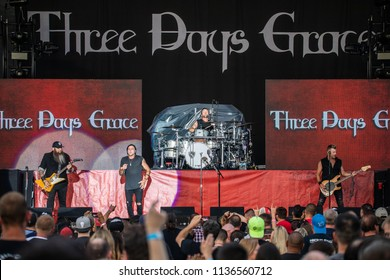Mt. Pleasant, MI / USA - July 12, 2018: Three Days Grace, in support of Disturbed's 2018 summer tour, perform at Soaring Eagle Casino in Mt. Pleasant, Michigan.