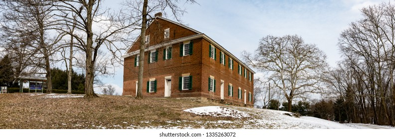 Mt. Pleasant, Ohio/USA-March 7, 2019: Web banner of the historic Quaker Meeting House on the hill. Mount Pleasant was home to Quaker abolitionist leaders and a stop on the Underground Railroad.