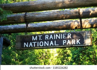 Mt. Rainier Entrance Sign in Washington-USA