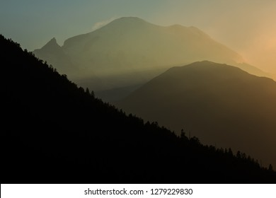 Mt. Rainier National Park At Sunset