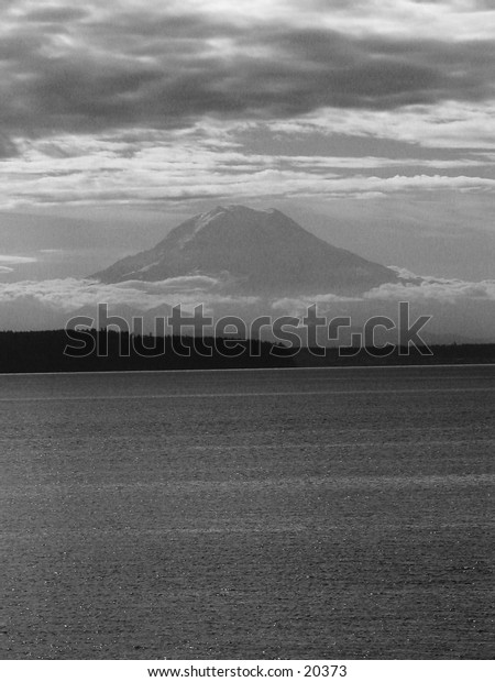 Mt. Rainier over southern Puget Sound, viewed from Home, Washington