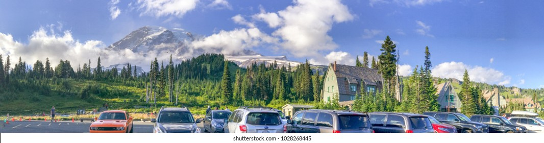 MT RAINIER, WA - AUGUST 16, 2017: Car parked at Jackson Memorial visitor center. Mt Rainier is a major attraction for tourists.