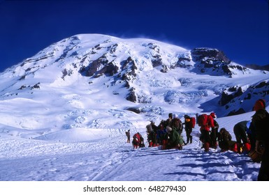 MT RAINIER, WASHINGTON - JUL 2, 1978 -  - Climbing party gets ready for their ascent of Mt Rainier in  Washington