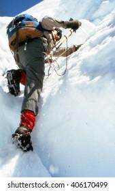 MT RAINIER, WASHINGTON, MAR 20, 1972 -  Ice climbing on the Puyallup Glacier,Mt. Rainier NPCascadesWashington