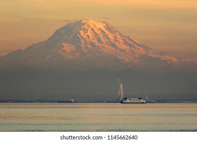 Mt Rainier and a Washington State Ferry