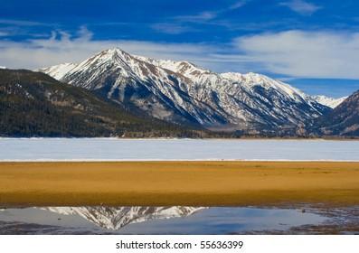 Mt. Rinker from a frozen Twin Lakes near Leadville, Colorado