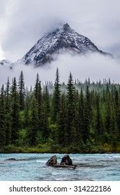 Mt Robson peeks through clouds over Robson River in Robson Provincial Park, Canada.