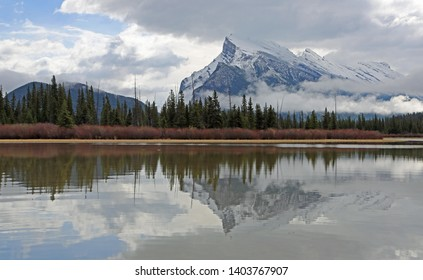 Mt Rundle behind the forest - Vermilion Lake - Banff National Park, Alberta, Canada