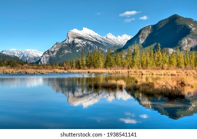 Mt. Rundle reflecting on Vermillion  Lake in Banff National Park Alberta Canada