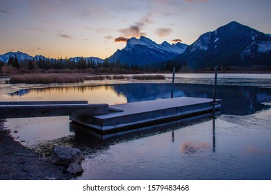 Mt. Rundle reflection in sunrise light at Vermilion lakes in Banff, Canada, Canadian rockies