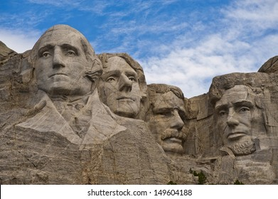 Mt. Rushmore, close up, morning