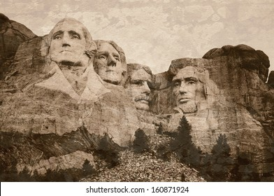 Mt. Rushmore National Memorial Park in South Dakota with sepia tone vintage overlay. Sculptures of former U.S. presidents; George Washington,Thomas Jefferson,Theodore Roosevelt and Abraham Lincoln.