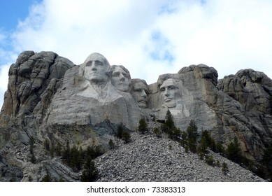 Mt. Rushmore in South Dakota with Cloudy Sky