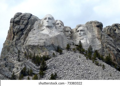 Mt. Rushmore in South Dakota with Overcast Sky