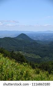 Mt. Sasakura in early summer. View east from Mt. Izumigatake. Sendai, Miyagi, Japan.