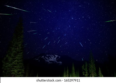 Mt Shasta 01 Perseids Meteor Shower 2012 Bunny Flat California USA