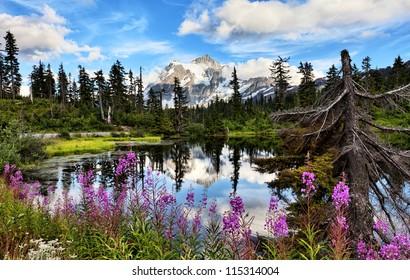 Mt Shuksan with Highwood Lake in foreground in Washington state