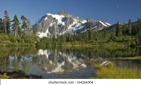 Mt. Shuksan reflected in Picture Lake.  Mt. Baker/Snoqualmie National Forest, WA.