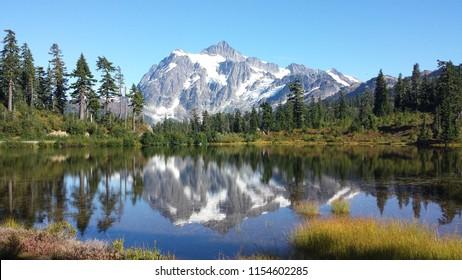 Mt Shuksan from reflection lake