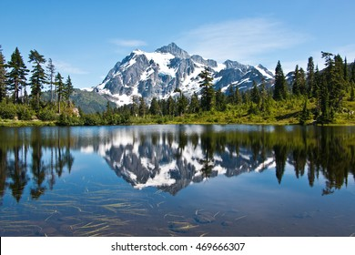 Mt. Shuksan view from Picture Lake at Mt. Baker-Snoqualmie National Forest