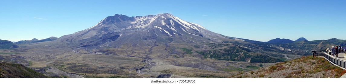 Mt St Helens crater and lava dome, and lahar pyroclastic mudflow, Volcanic National Monument, Washington