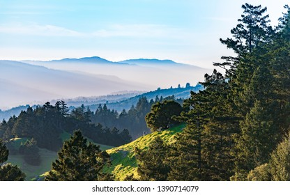 Mt. Tamalpais looking north before sunset with layered hills and saturated colors.