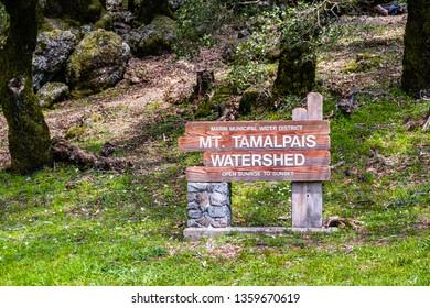 Mt Tamalpais Watershed sign, Marin county, north San Francisco bay area, California
