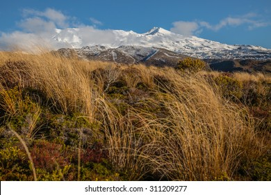 Mt. Tongariro at the southern end of Lake Taupo, New Zealand. A grand view of this magnificent snow-covered mountain at the end of winter. Stunning for many various ideas.