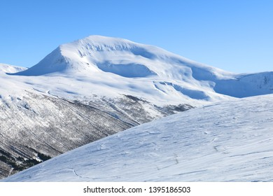 Mt. Tromsdalstinden, Tromso Norway on a sunny winter day