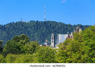 Mt. Uetliberg in Switzerland as seen from the city of Zurich in summertime.