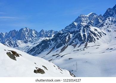 Mt Velan (right) and the Maisons Blanches (centre) in the Swiss Alps as seen from the Great St Bernard Pass