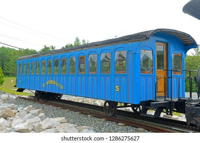 MT WASHINGTON, NH, USA - JUL. 12, 2015: Historic stream Cog Railroad Moosilauke at Twin Mountain Chamber of Commerce in town of Carroll in White Mountain, New Hampshire, USA.