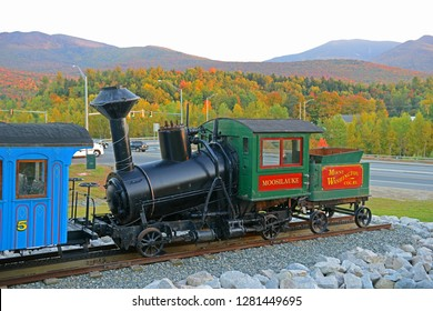 MT WASHINGTON, NH, USA - SEP. 27, 2014: Historic stream Cog Railroad Moosilauke at Twin Mountain Chamber of Commerce in town of Carroll in White Mountain, New Hampshire, USA.